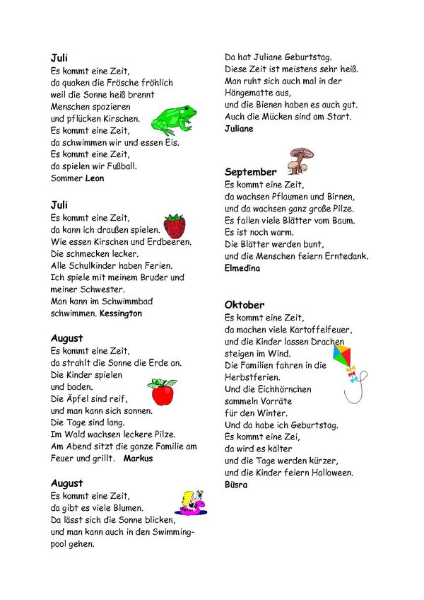 Grundschule Am Waldschlösschen Elch Gedichte